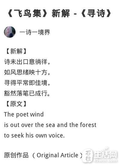 《飞鸟集》新解 -《寻诗》