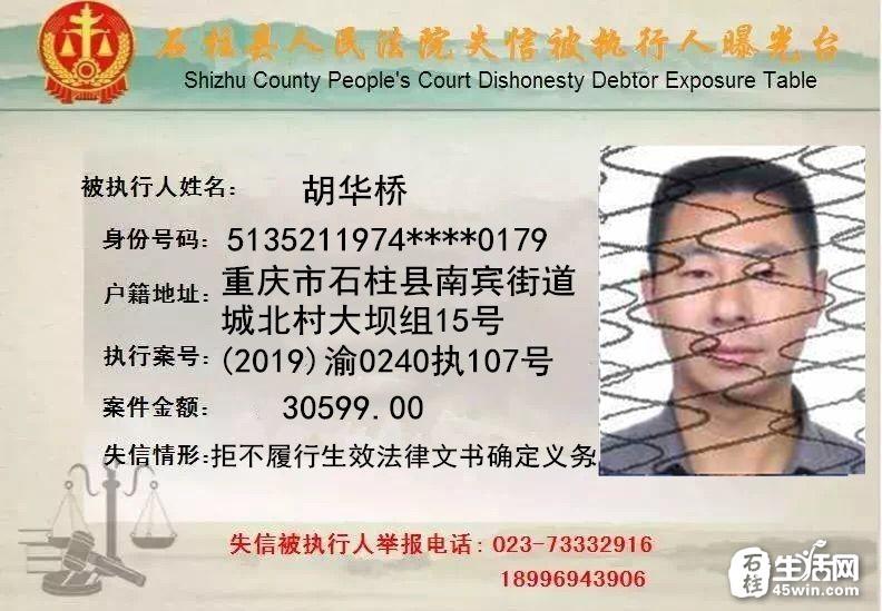 石柱法院失信被执行人曝光台(2019年第七期)
